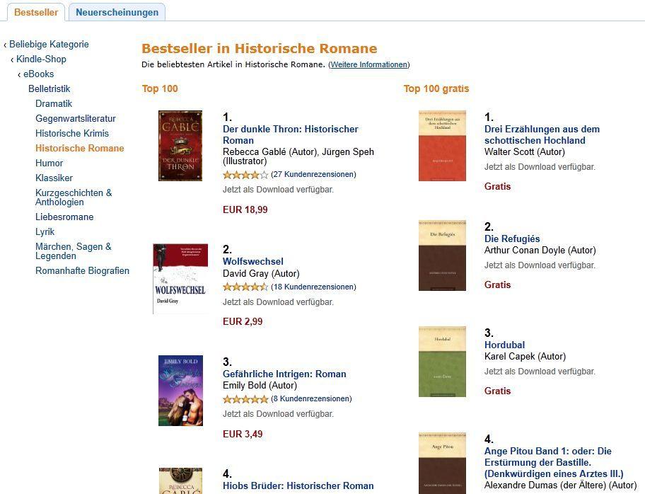 Amazons Bestseller in historische Romane am 23.09.11 um 19.50